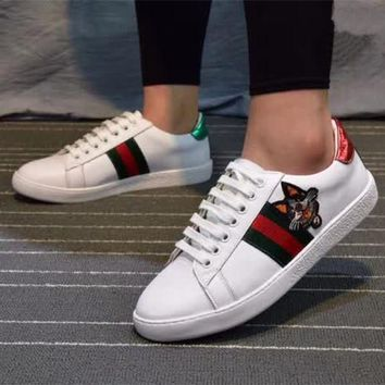 gucci unisex casual fashion multicolor stripe dog head embroidery small white shoes couple plate shoes sneakers