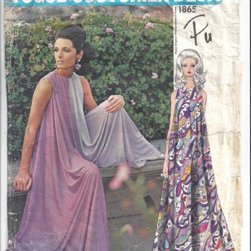Vogue 1865 Pattern Couturier Design, Pucci of Italy for Long Culotte Dress, 3-Piece Pattern, Size 14, From 1970s, Vintage Pattern, Designer
