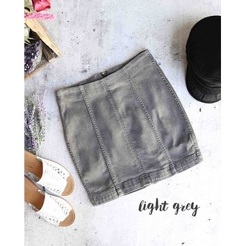 free people - modern femme novelty mini denim skirt - light grey
