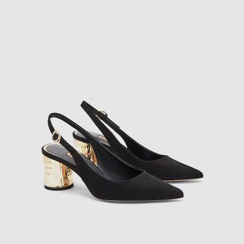 MID-HEEL SLINGBACK SHOES WITH LAMINATED HEELS DETAILS