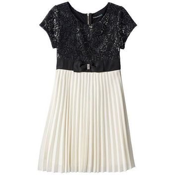 My Michelle Metallic Lace Chiffon Dress   Girls