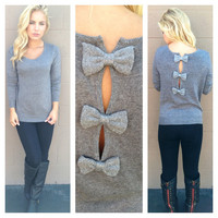 Grey Bow Back Sweater