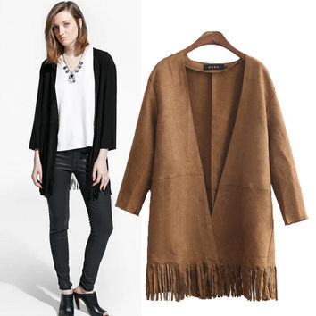 Stylish Long Sleeve Tassels Women's Fashion Jacket [4919034436]