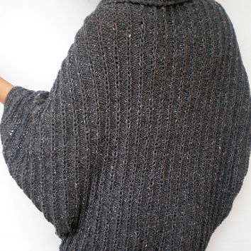 Grey  Ribed Fashion Oversized Shrug   Tweed Sweater Woman Hand Knit  Shrug Bolero NEW