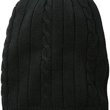 Levi's Men's Slouchy Cable Knit Beanie, Black, One Size