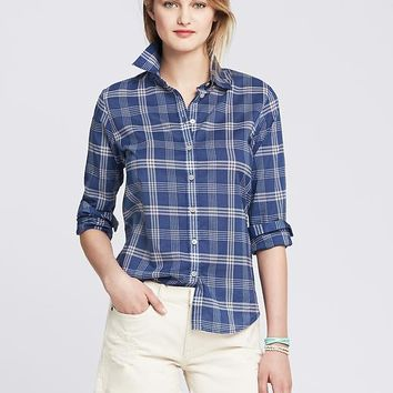 Banana Republic Womens Soft Wash Blue Plaid Boyfriend Shirt