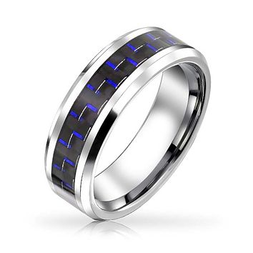 Cobalt Blue Carbon Fiber Inlay Couples Wedding Band Tungsten Ring 8MM