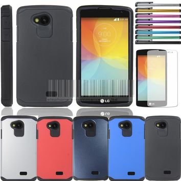 Ultra Thin Hybrid Armor Hard Case Cover Skin+Film For LG Optimus F60 Tribute LS660/F60 D390 D390N MS395 Dual D392