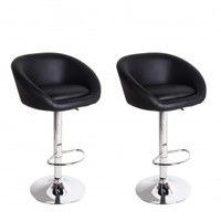 Adeco Black Hydraulic Lift Adjustable Barstool Low Wrap Around Back Chair, Leather-Look, Chrome Finish Pedestal Base (Set of two)