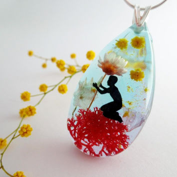 teardrop flower necklace: sterling silver 925 red moss dried flowers lotus flower turquoise miniature childhood drawing