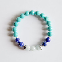 Capricorn Sign ~ Genuine Aquamarine, Moonstone & Turquoise Bracelet w/ Sterling Silver Accents