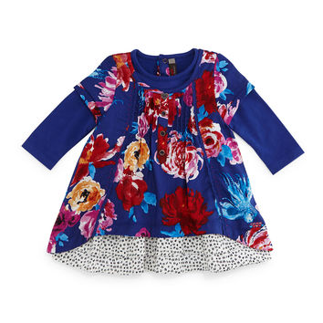 Twill Floral Shift Dress, Royal Blue, Size 3-6,