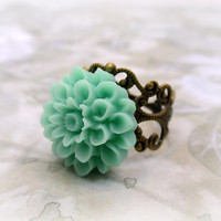 Acrylic Resin Jewelry Ring. Seafoam Blue Adjustable Ring. Turquoise Resin Flower - SEASIDE