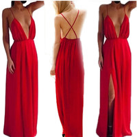 Sexy Dress Clubwear Maxi Dresses Plus Size Women Clothing Deep V-neck Cross Back Split Perspective Bandage Dress vestido C93