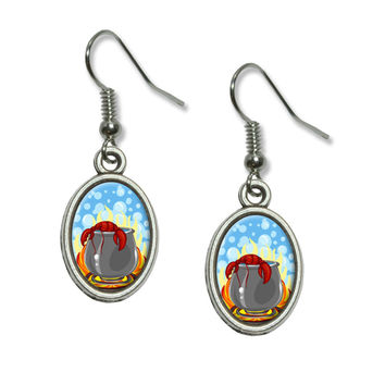 Lobster in Pot - Maine Cooking Seafood Dangling Drop Oval Earrings