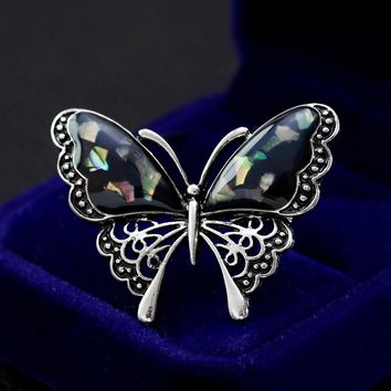 Fashion MultiColor Crystal Rhinestone Butterfly Retro Bronze Brooch Artificial