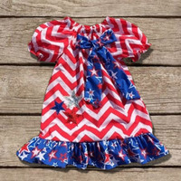 Chevron Star July 4th Ruffled Dress