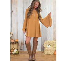 Solid Color V-Neck Tie Trumpet long Sleeve Loose Backless Dress +Gift Necklace