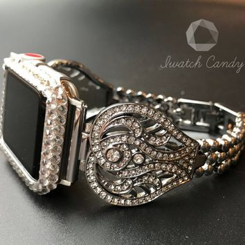 38mm 42mm Apple Watch Band Series 1&2 Women's Crystal 1 0r 2 Row Case Cover Bezel Clear Swarovski Crystals Silver Stainless Steel Band Bling
