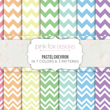 Chevron Digital Paper Pack 21 Printable Sheets Pastel Chevron Paper Scrapbook Paper Patterned Paper Colorful Paper Craft Supply Download