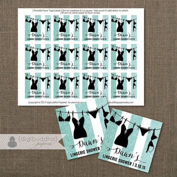 "Tiffany Blue Glitter Favor Tags Lingerie Shower Labels Bridal Stripes Black Thank You Tags 2.25"" Square DIY Printable or Printed- Dawn"