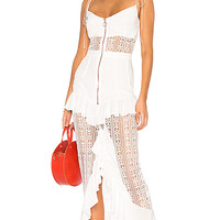 For Love & Lemons Lovebird Lace Midi Dress in White