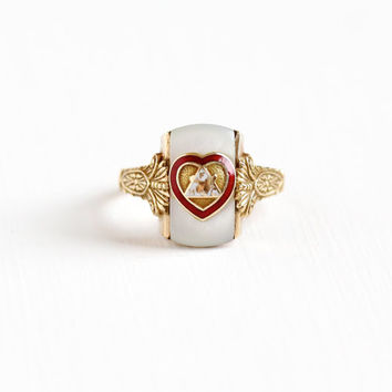 Vintage Art Deco 10k Yellow Gold Loyal Order of Moose Ring - Mother of Pearl and Red Enamel Heart Fraternal Emblem Fine 1930s Jewelry