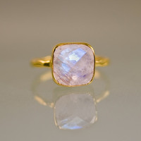 Rainbow Moonstone Ring - June Birthstone Ring - Gemstone Ring - Gold Ring - Bezel Set Ring