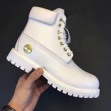 Timberland Rhubarb Boots Fashion Men Women Shoes Waterproof Martin Boots Couple Shoes White I