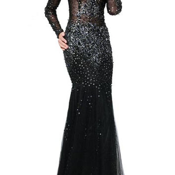 PRIMA 17-26 Black Long Sleeve Sheer Illusion Prom Dress Evening Gown