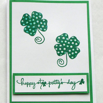 St Patrick's Day shamrock card, greeting card, Irish, green, st patty's day, good luck