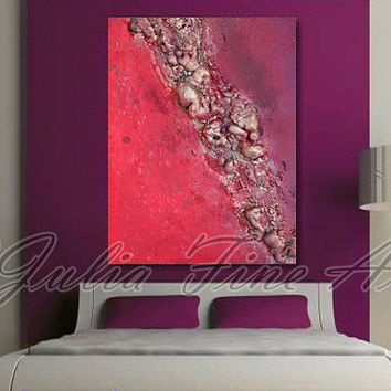Abstract Painting, Sculpture, Mixed Media Art, modern painting, Pink, Rose, Purple, Silver, Wall, Decor, Unique Rich Texture, Custom Order