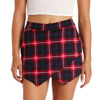 Plaid Envelope Wrap Mini Skort by Charlotte Russe - Red Combo