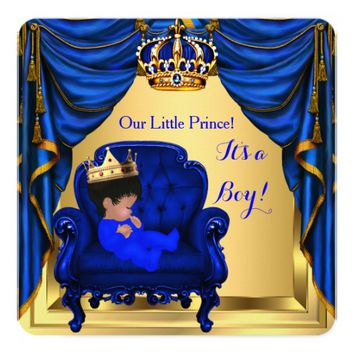 Baby Shower Boy Little Prince Royal Blue Gold 5.25x5.25 Square Paper Invitation Card