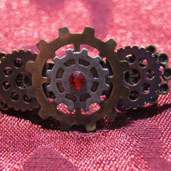 Steam punk gear barrette by caitlinjohns on Etsy