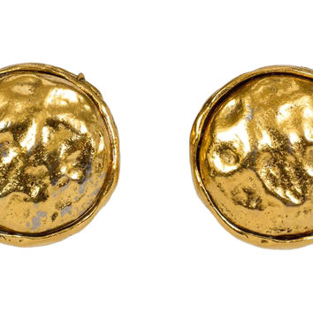 Chanel Hammered Gold Clip Back Earrings