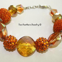 Orange Bracelet - Beaded Bracelet - Glass Bracelet - Rhinestone Bracelet - Gift For Her - Statement Jewelry - Bold Jewelry - Tangerine