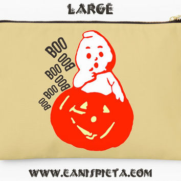 Halloween Ghost Jack O'Lantern Studio Pouch Clutch Bag Pumpkin Orange Spooky Vintage Retro Fashion Handbag Cream Neutral Boo Purse Scary Art