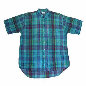 Vintage 90s Gap Teal Plaid Shirt Made in USA Mens Size Medium