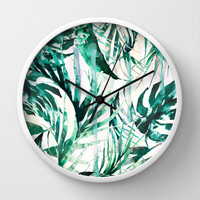 Green Tropical paradise Wall Clock by Nikkistrange