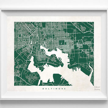 Baltimore, Maryland, Street Map, Print, Nursery, Cute, State, Town, Art, Bedroom, Living Room, Poster, Wall Decor, Illustration [NO 480]