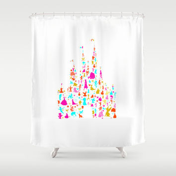 multicolored character castle Shower Curtain by Studiomarshallarts