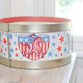 Vintage Patriotic Toy Drum - 1950's Metal Paper Marching Drum,