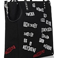 Black Ransom Shopper Tote Bag by Valentino