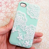 Handmade  Lace  Candy Color Case For iPhone4/4S