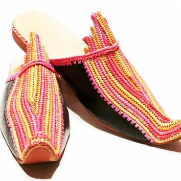 Moroccan Babouche Shoes - Vintage Festival Babouche - Raffia and Leather