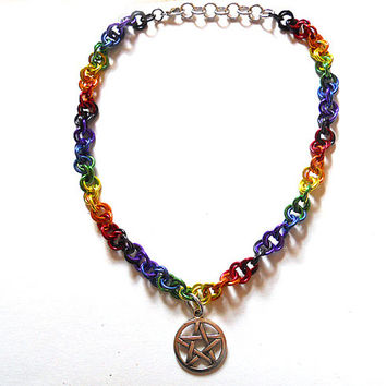 Pentagram necklace, Pagan Pride jewelry, Wiccan necklace, Rainbow Gay Pride necklace, Chainmaille