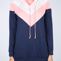 The Alana Tri Color Hoodie in Coral