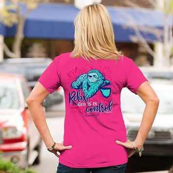 Cherished Girl Relax God is in Control Sloth Girlie Christian Bright T Shirt