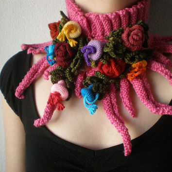Elan ... knitted scarflette - fuchsia pink neck warmer with yellow, purple, blue, red, colorful crochet flowers